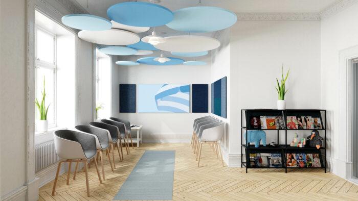 Blau gestaltetes Büro